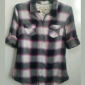 Arizona Jean Company Shirts & Tops - Arizona Girl's Plaid Snap Front Shirt Large